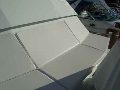 Boat cushions on bow of boat